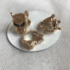 Free People Set of 3 Leopard Gold cocktail rings